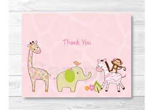 pink jungle animal thank you card jungle baby shower safari baby shower folded card