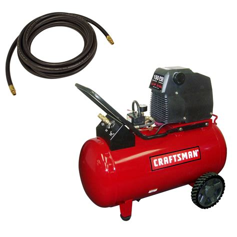 craftsman 20 gallon portable horizontal air compressor with hose and kit