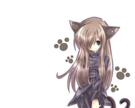 woman with cat tail anime cat girl catgirl animal ears anime long hair