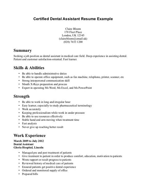 Exle Of A Aide Resume Dental Assistant Resume Exles Berathen