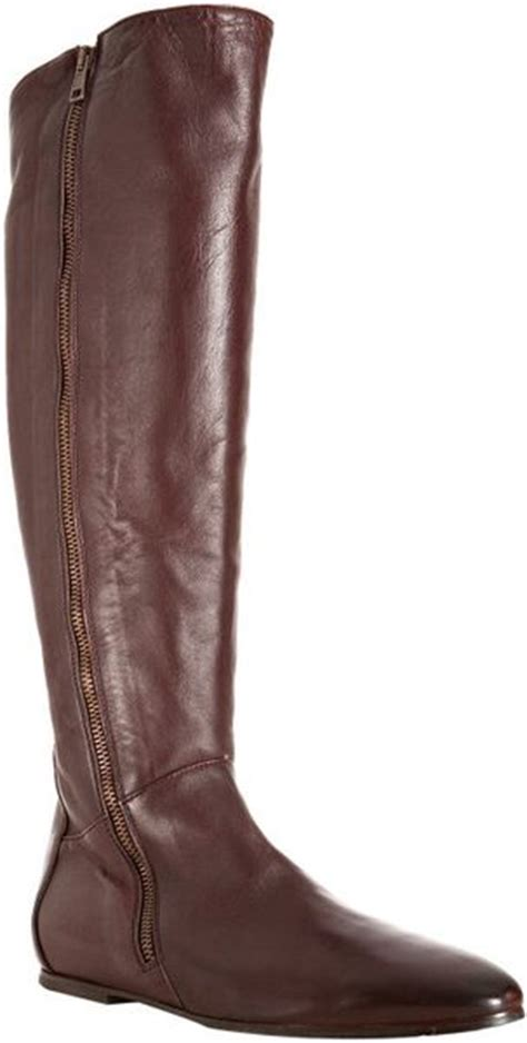 alberto fermani brown leather flat boots in