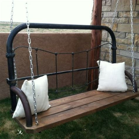 15 Brilliantly Creative Ways To Upcycle An Old Bed Frame Swinging Bed Frame