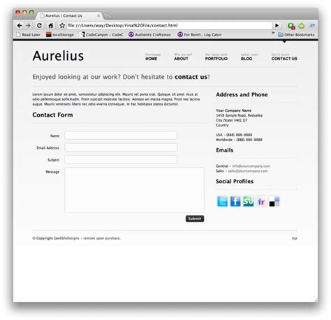 contact us template free free quot aurelius quot website template