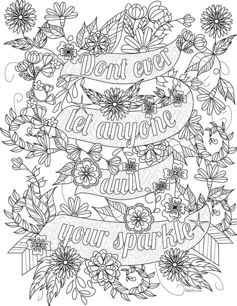 printable coloring quote pages for adults free coloring pages of inspirational