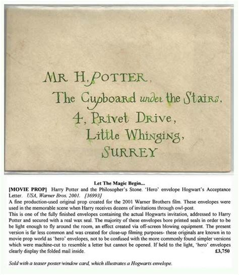 Harry Potter Acceptance Letter Envelope Harry Potter And The Philosopher S Envelope Hogwart S Acceptance Letter Harry