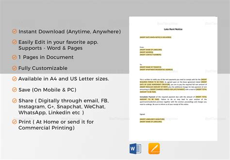 late rent notice template late rent notice template in word docs apple pages