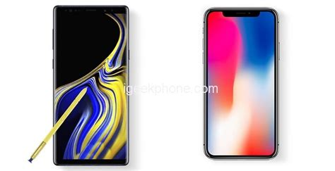 samsung 9 vs iphone x samsung galaxy note 9 vs iphone x in benchmark tests comparison