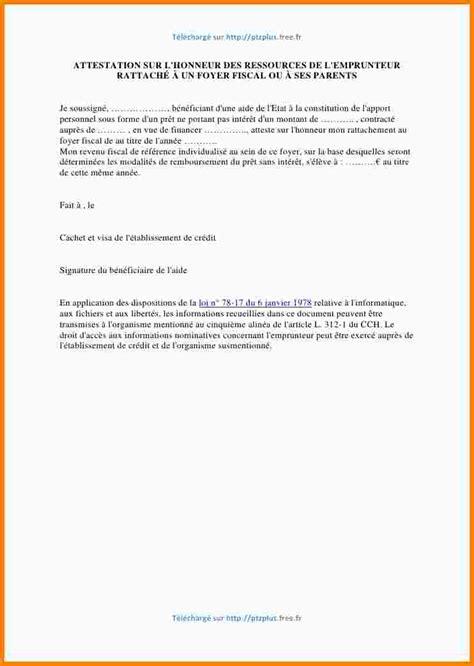 Letter Type Attestation Hebergement 4 Attestation Sur L Honneur D H 233 Bergement Exemple Lettre