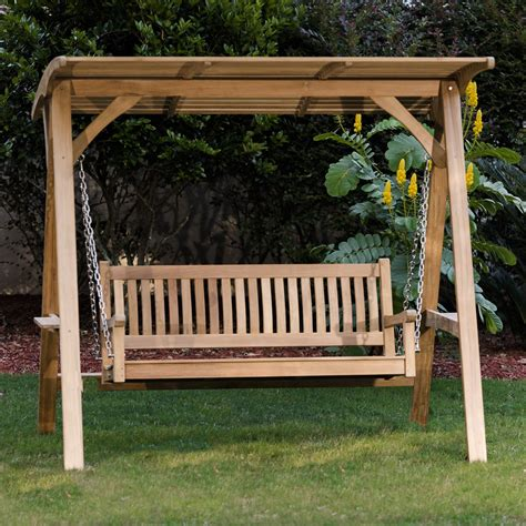 swinging patio bench veranda hanging teak porch swing westminster teak