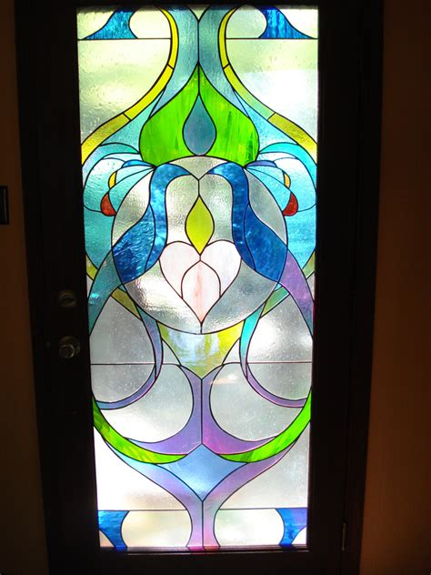 peacock stained glass door tempered glass by gregstefanstudios