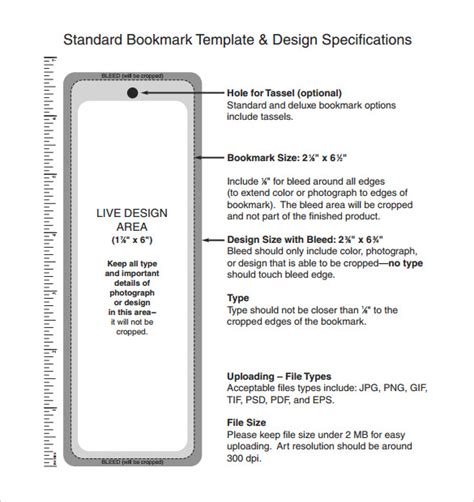 bookmark sizes template bookmark template 10 free word pdf psd documents
