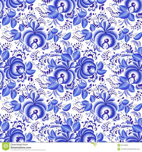 pattern white blue ornate blue and white floral seamless pattern stock vector