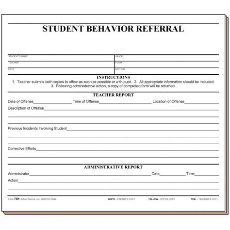 73h Student Behavior Referral Carbonless Forms Student Referral Form Template
