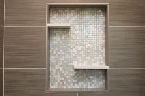 Home Design And Remodeling Show 2017 Shower With Recessed Niche Of Mosaic Glass Tile
