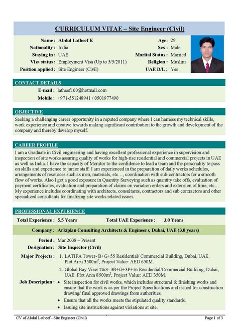 Creative Resume For Civil Engineer   Design Resume Template