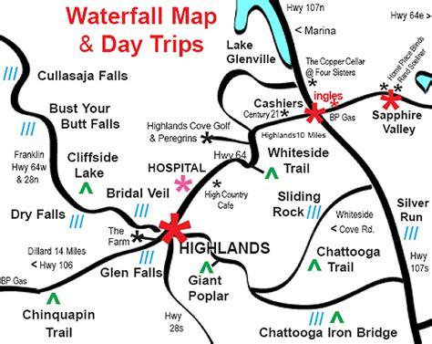 carolina waterfalls map waterfalls of southwestern carolina