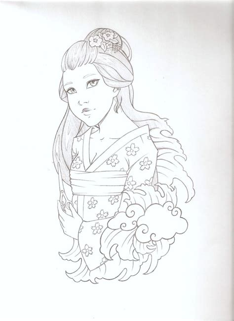 geisha tattoo stencil geisha tattoo sketch by emc on deviantart