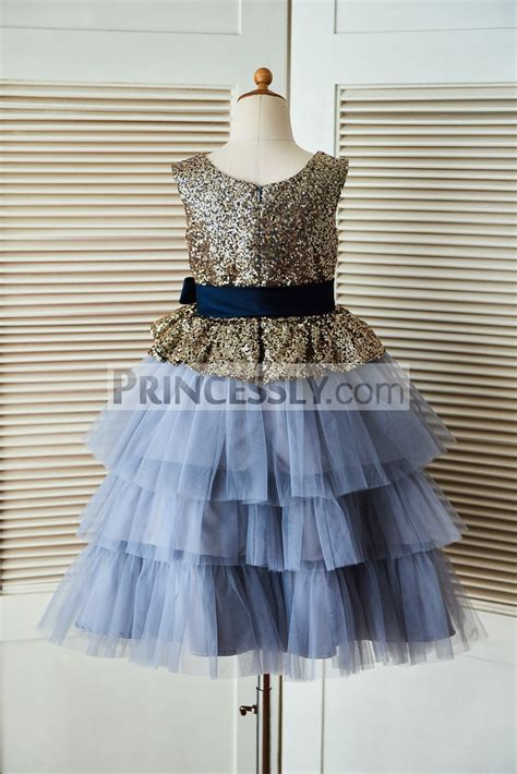 Dress Navy Flower With Belt gold sequin blue cupcake tulle flower dress with navy blue belt avivaly