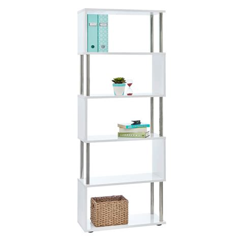 Halcyon Chrome And Gloss Bookcase White Ebay White Gloss Bookcase