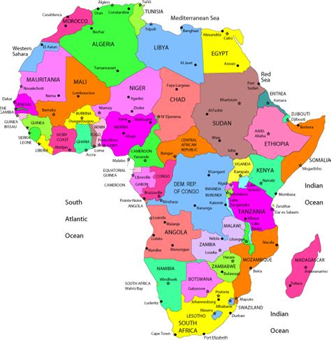 africa map countries  capitals  maps africa