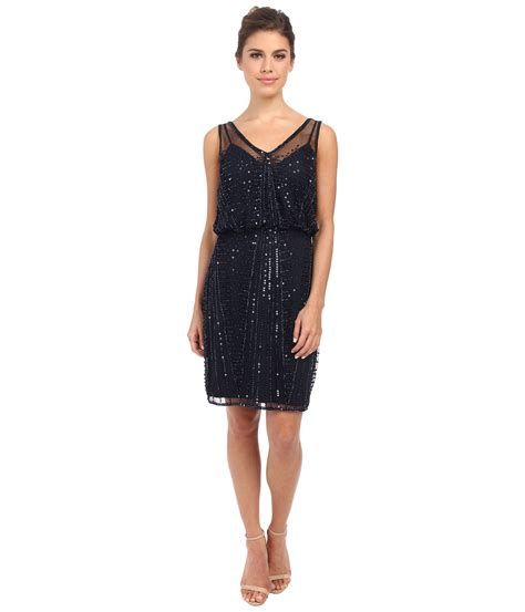 beaded papell dress papell beaded cocktail dress in blue lyst