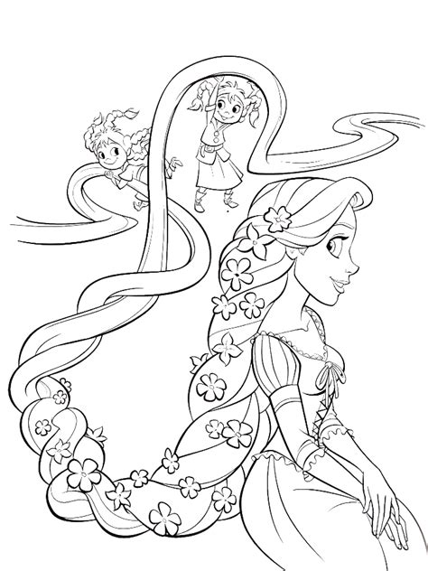 coloring pages of baby rapunzel two children are styling hair rapunzel coloring pages