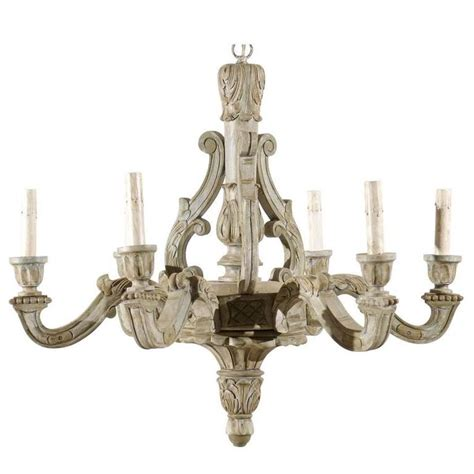 French Vintage Six Light Wood Chandelier With Ornate Parisian Wood Chandelier