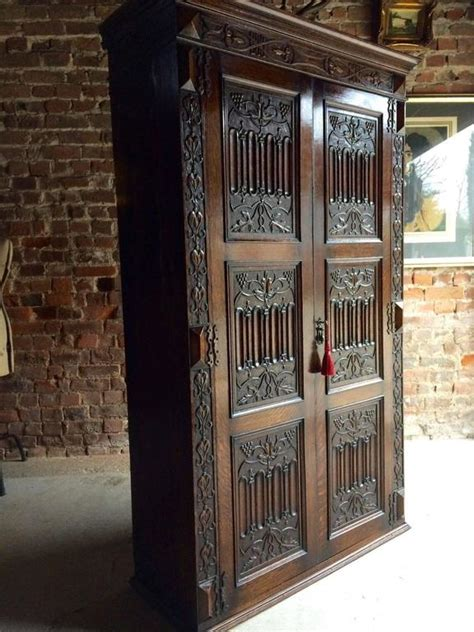 antique oak armoire wardrobe antique wardrobe armoire solid oak gothic heavily carved