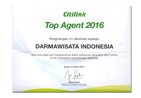 citilink travel agent citilink top agent 2016