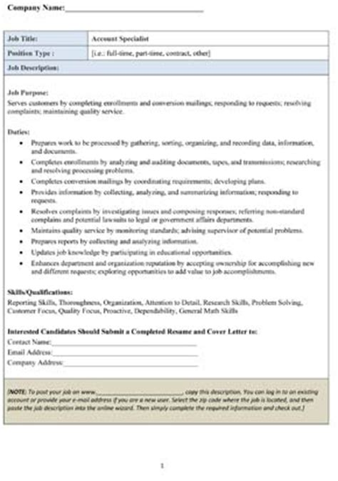 Accounting Specialist Description by Sle Account Specialist Description Small Business Free Forms
