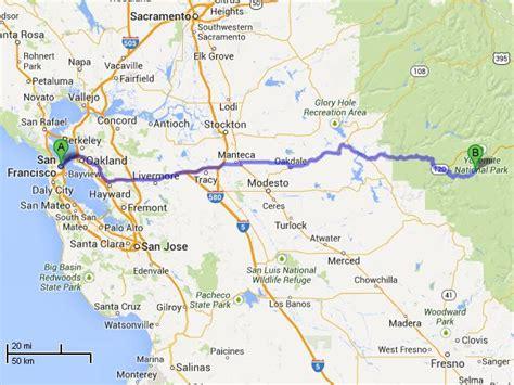 map san francisco to yosemite national park the tueshaus family usa routes