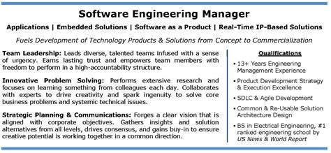 software engineering manager profile it tech exec