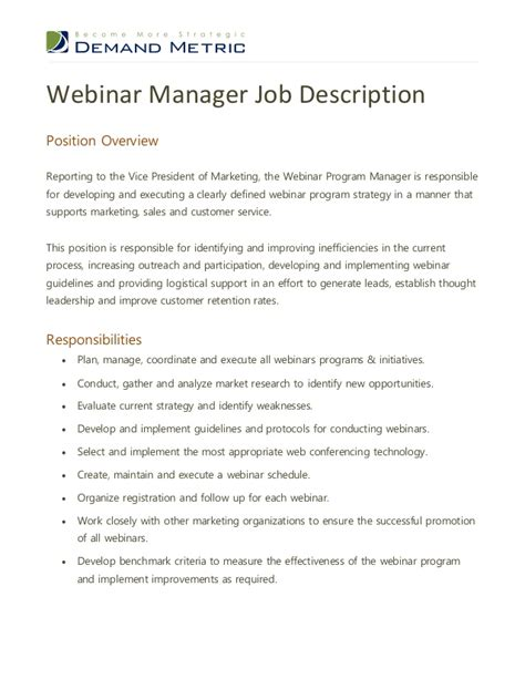 manager description webinar program manager description