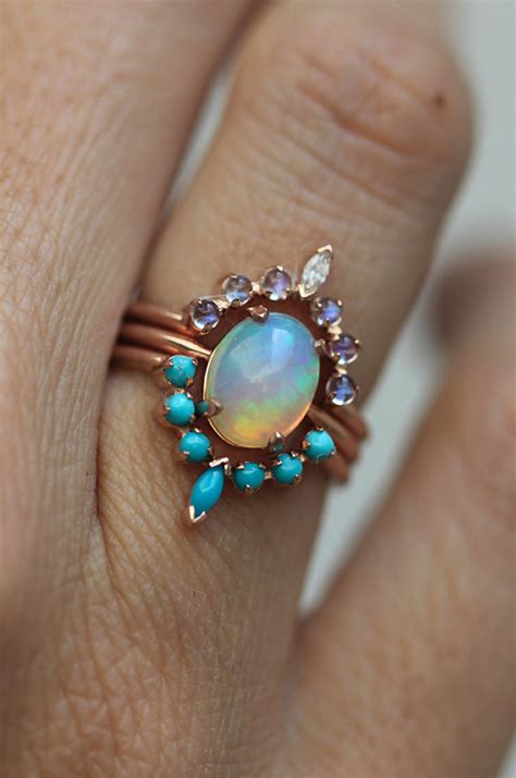 ocean ring set engagement ring set with oval australian
