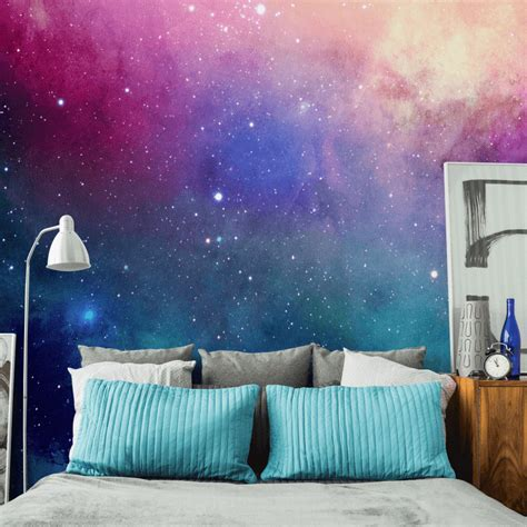 galaxy bedroom walls water color galaxy wall mural eazywallz