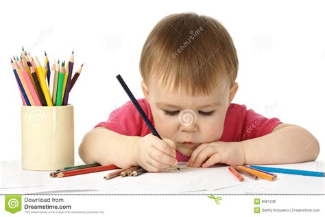 child color cute child draw with color crayons royalty free stock