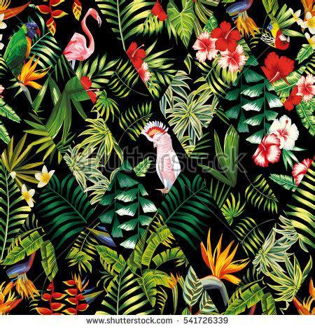banana tropical wallpaper exotic beach trendy seamless pattern patchwork stock
