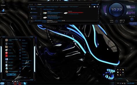 themes for windows 7 custom xenomorph windows 7 theme with xwdiget skin