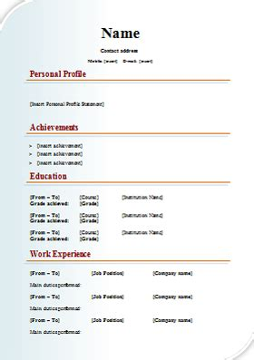 layout of a standard cv design cv template