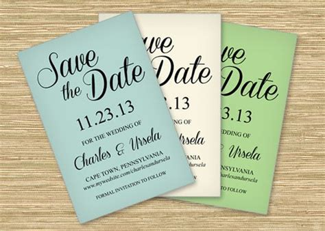 free save the date wedding cards templates three free microsoft word save the date templates for printing on colored card stock