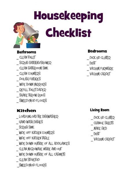 cleaning bedroom checklist housekeeping checklist cleaning organize and organizations