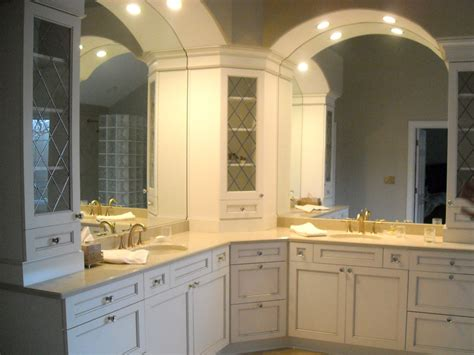 corner vanity cabinet bathroom traditional with arch