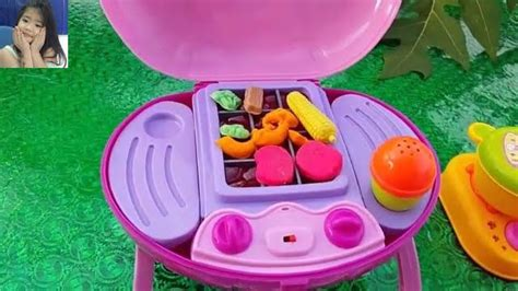 Doh Barbeque Set barbecue grill velcro cutting vegetables peel play doh