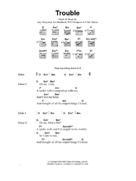 coldplay yellow chords easy trouble by coldplay guitar chords lyrics guitar instructor