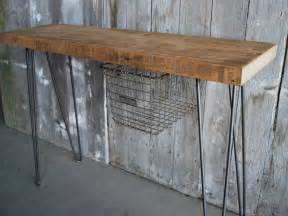 rustic industrial console table made from reclaimed wood
