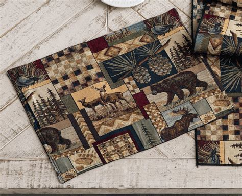 woodland cabin placemats set of 4