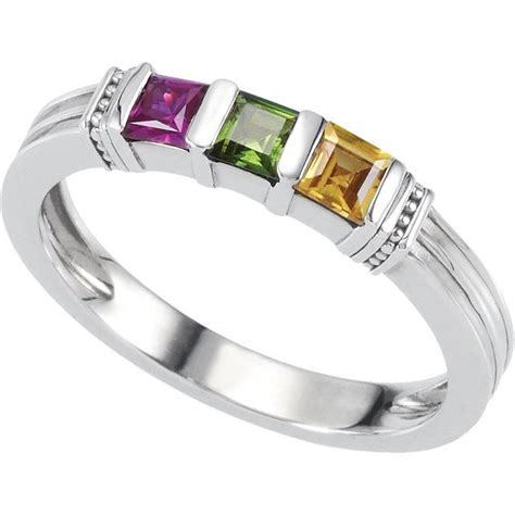 silver 1 to 3 square stones stackable s ring