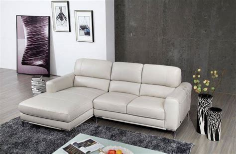 Small Apartment Size Leather Sectional Bone Colored Top Grain Leather Sectional Sofa With Chrome