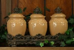 Tuscan Style Kitchen Canisters - spice jar set fleur de lis butterscotch tuscan kitchen