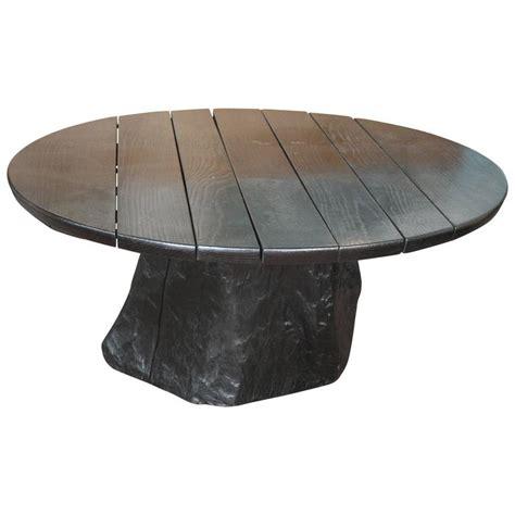 tree trunk l base ebonized oak coffee table with live edge tree trunk
